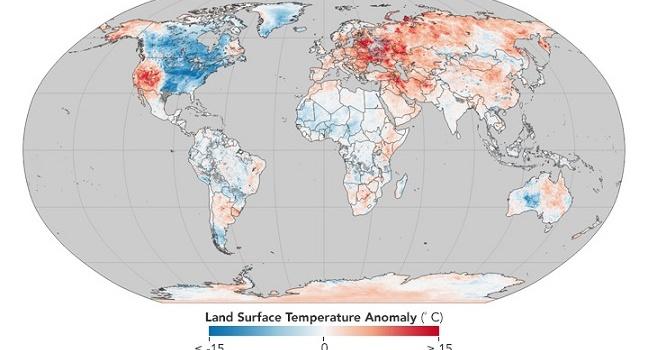 В NASA отнесли Украину к зоне с аномально теплой зимой